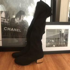 BRAND NEW over the knee black boots with gold heel